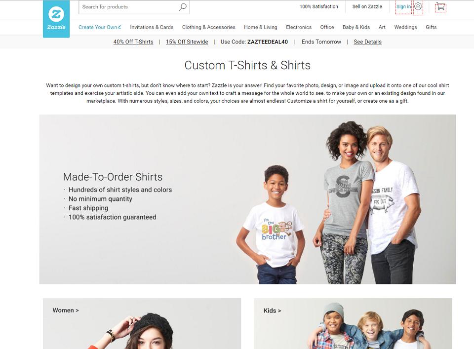 Zazzle Website