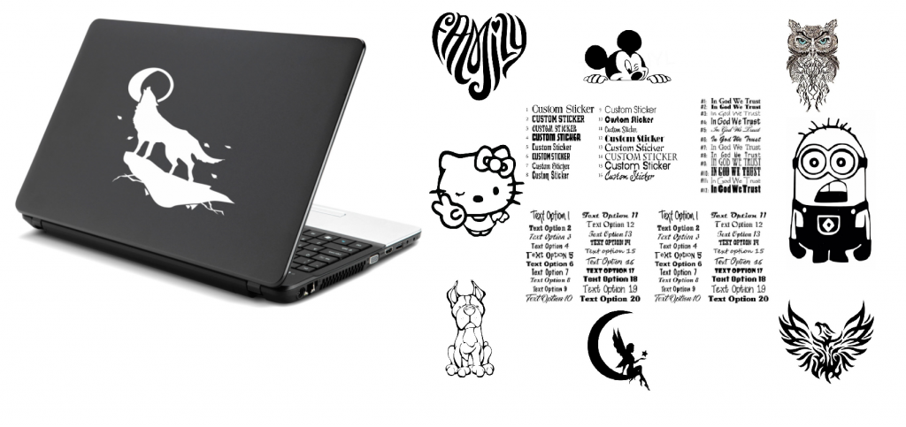 Silver laptop with decals
